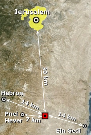 Location of the Third Temple must be 30 km south of Jerusalem.